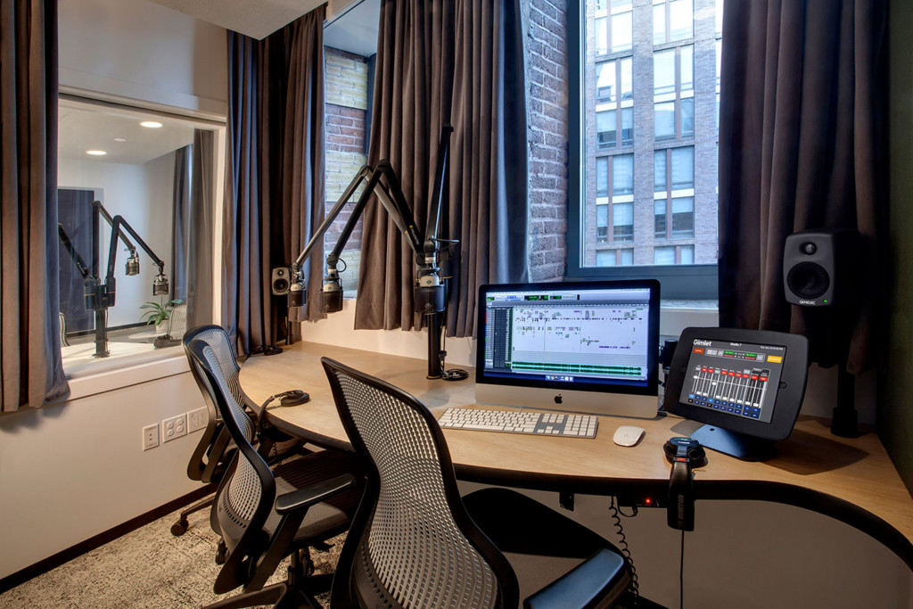 Gimlet Media, the award winning podcast production company is setting the standard in podcast creation studios with its new 28,000 square foot production facility. Designed by the acoustic architectural firm WSDG, it catapults Gimlet's podcasting operations from a modest studio operation to a commercial-grade. Studio 7.