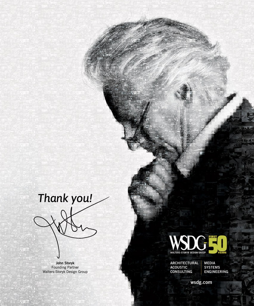 John Storyk - WSDG 50 Years poster, created with multiple photos of some of the +3000 designs they've created along this first 50 years. Best recording studios in the world. Best recording studio designs.