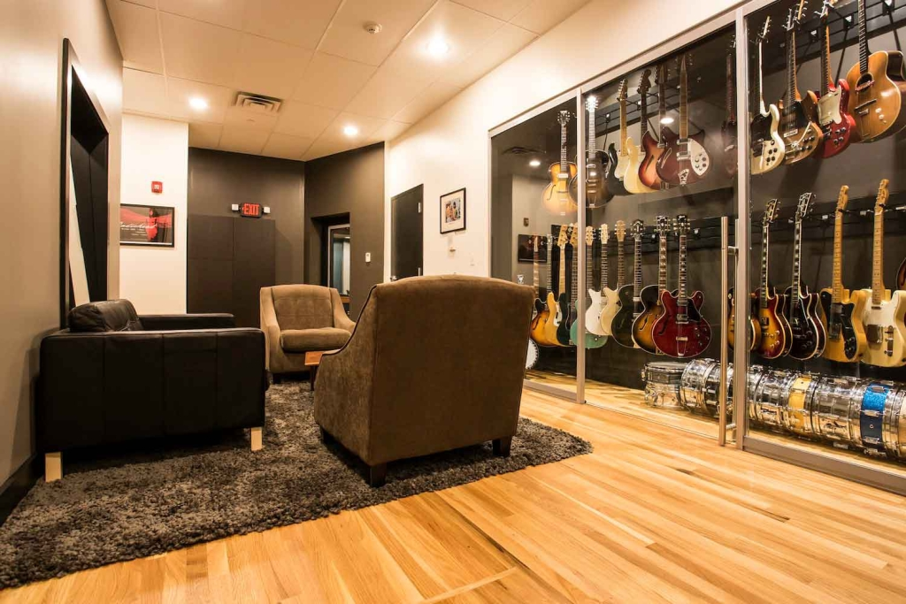 Producer/ songwriter Jon Leidersdorff commissioned WSDG to design his new Asbury Park based Recording Studios called Lakehouse Recording Studios. John Storyk is the best studio designer. Commercial recording studio. Great sounding rooms. Lounge with guitars, snares and gear.