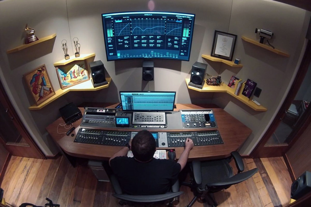 Mix2go is located in Sao Paulo, Brazil and is an innovative 3D mixing facility. WSDG was commissioned to design a space where 3D mixes audio could be created. Main control room.