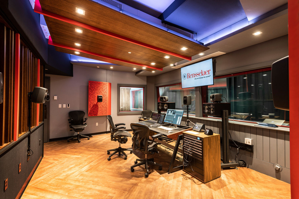 Rensselaer Polytechnic Institute (RPI) brand new state-of-the-art audio production facilities, designed by WSDG - Main Control Room