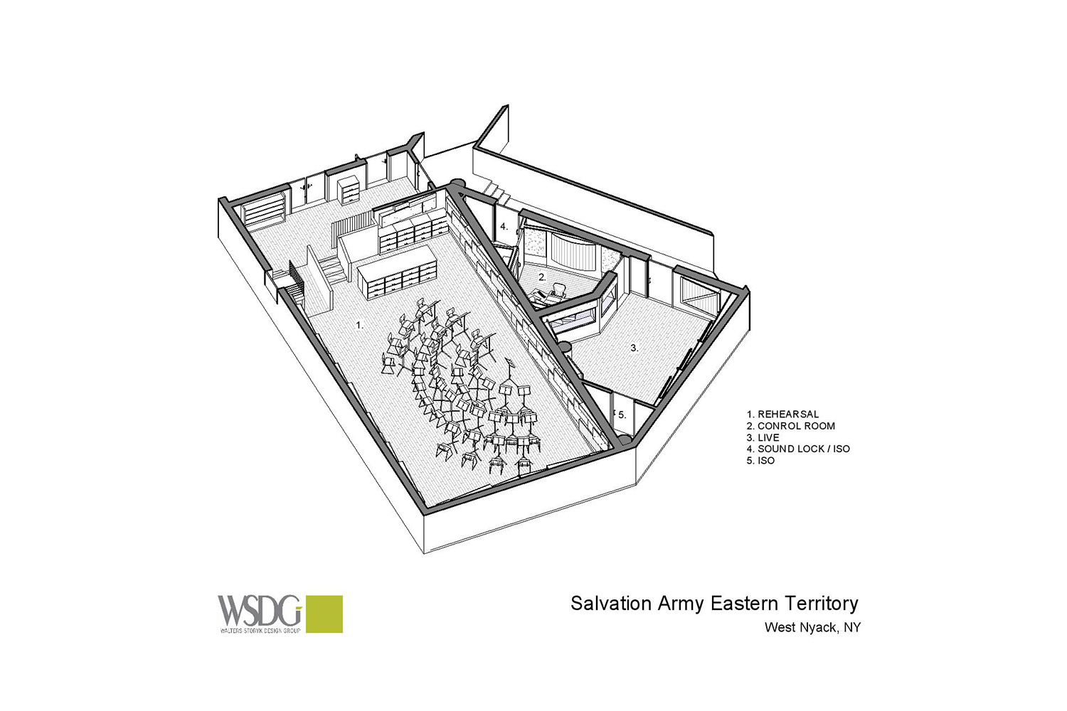 Salvation Army Eastern Territory Recording Studio. WSDG was called to redesign the complex. Live Room, Presentation Drawing