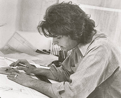 Legendary architect/acoustician John Storyk drafting in New York City back in the 1960s. Thinking process for Electric Lady Studios.
