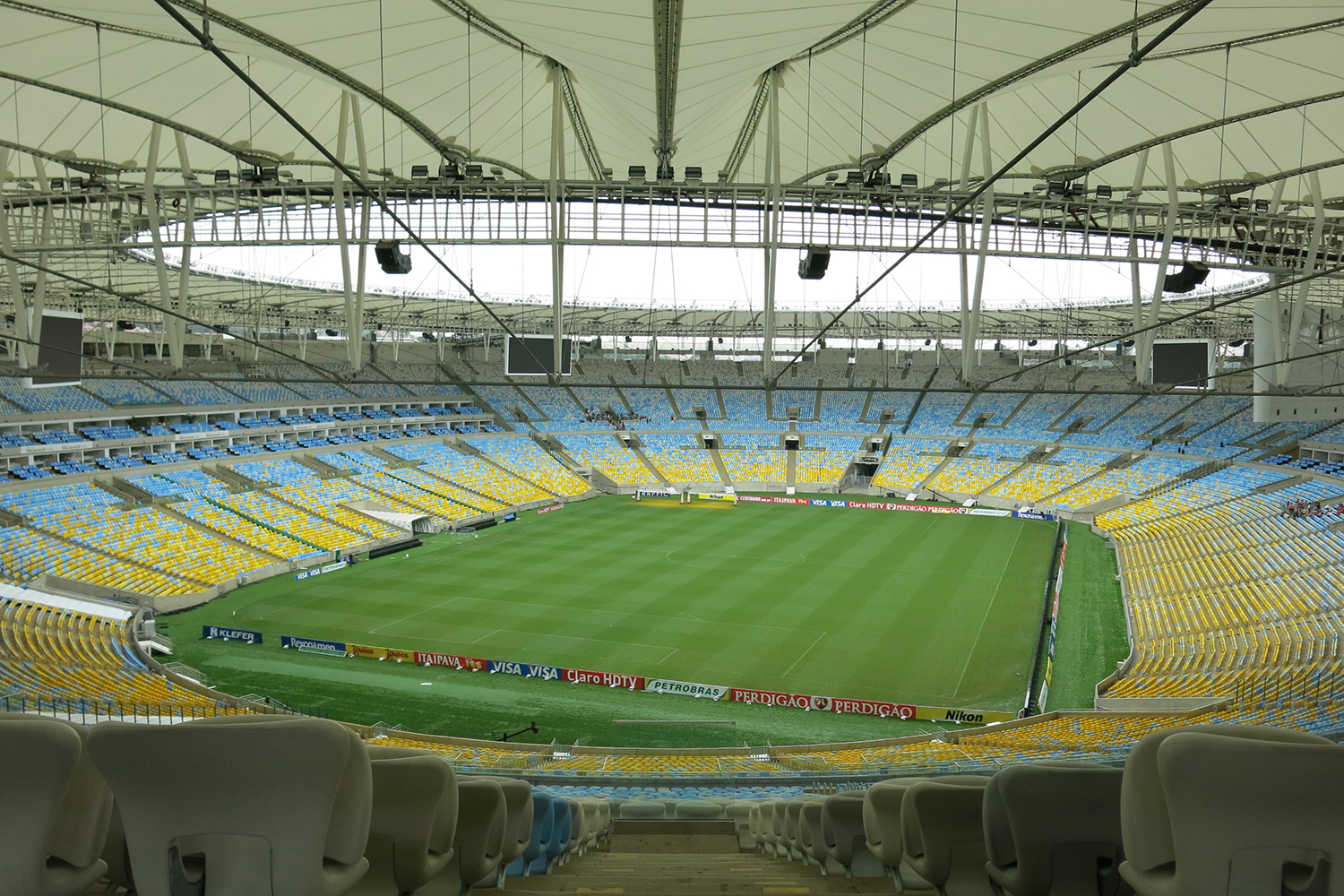 Maracana Stadium in Rio de Janeiro, Brazil. One of the biggest soccer stadiums in the world, home of the 2014 Olympic Games and World Cup. WSDG was called for consulting and installation of the audio/video of the whole facility.