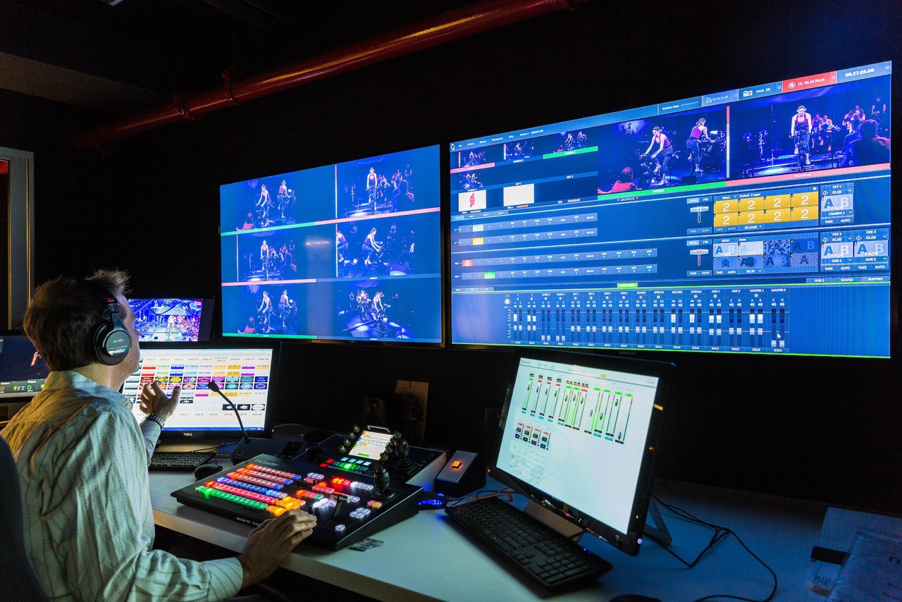 Peleton's Control Room sports a Newtek Tricaster production switcher and a Telemetrics robotic camera controller connected to 3 Sony PTZ cameras.