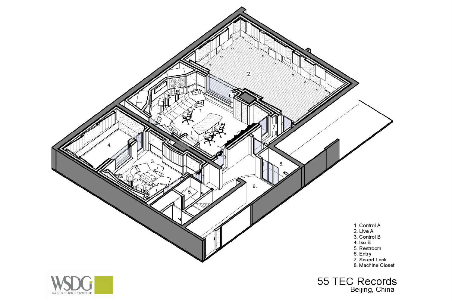 55TEC Studio in Beijing, China. Presentation Drawing