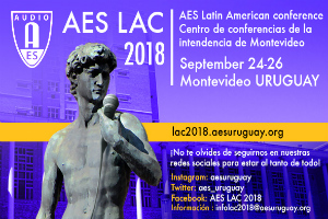 AES LAC 2018 Logo. The Audio Engineering Society convention in south america will be held at Montevideo, Uruguay. Sergio Molho & Federico Petrone from WSDG will be presenting a lecture on Recording Studio design.
