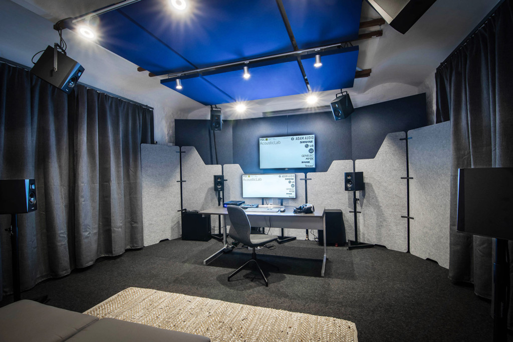 WSDG AcousticLab in Basel, Switzerland. Space designed to accurately demonstrate and reproduce different spaces auralization. Front View.