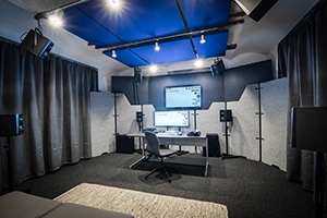 WSDG AcousticLab in Basel, Switzerland. Space designed to accurately demonstrate and reproduce different spaces auralization. Front View. Audio Media International with Dirk Noy.
