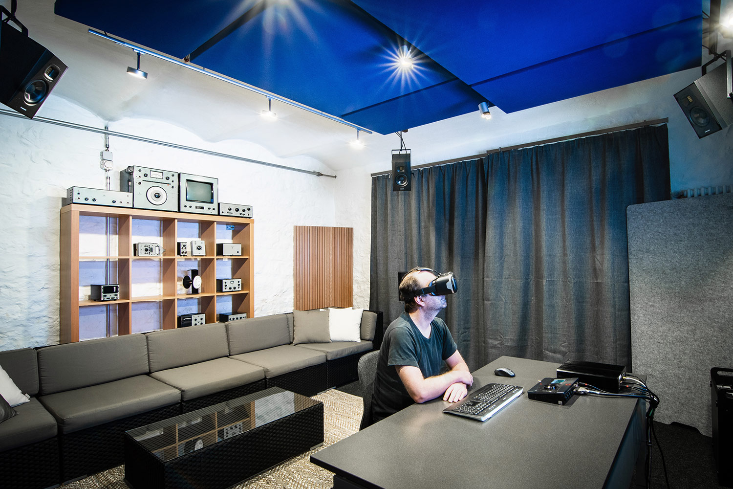 WSDG AcousticLab in Basel, Switzerland. Space designed to accurately demonstrate and reproduce different spaces auralization. Rear View