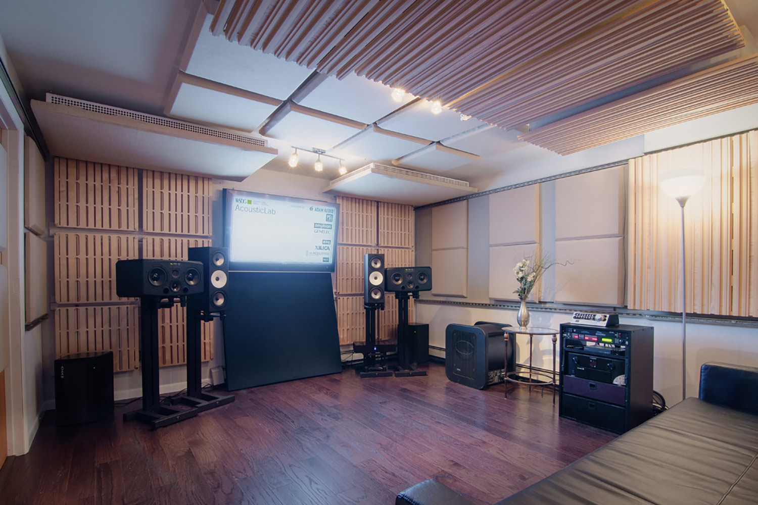 WSDG AcousticLab in Highland, NY. Space designed to accurately demonstrate and reproduce different spaces auralization. Front View.