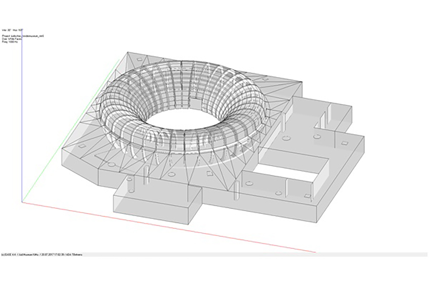 ANOHA, inside the Jewish Museum of Berlin, secured WSDG to perfect the acoustics of the spaces without compromising the design. Acoustical model, axonometric view.