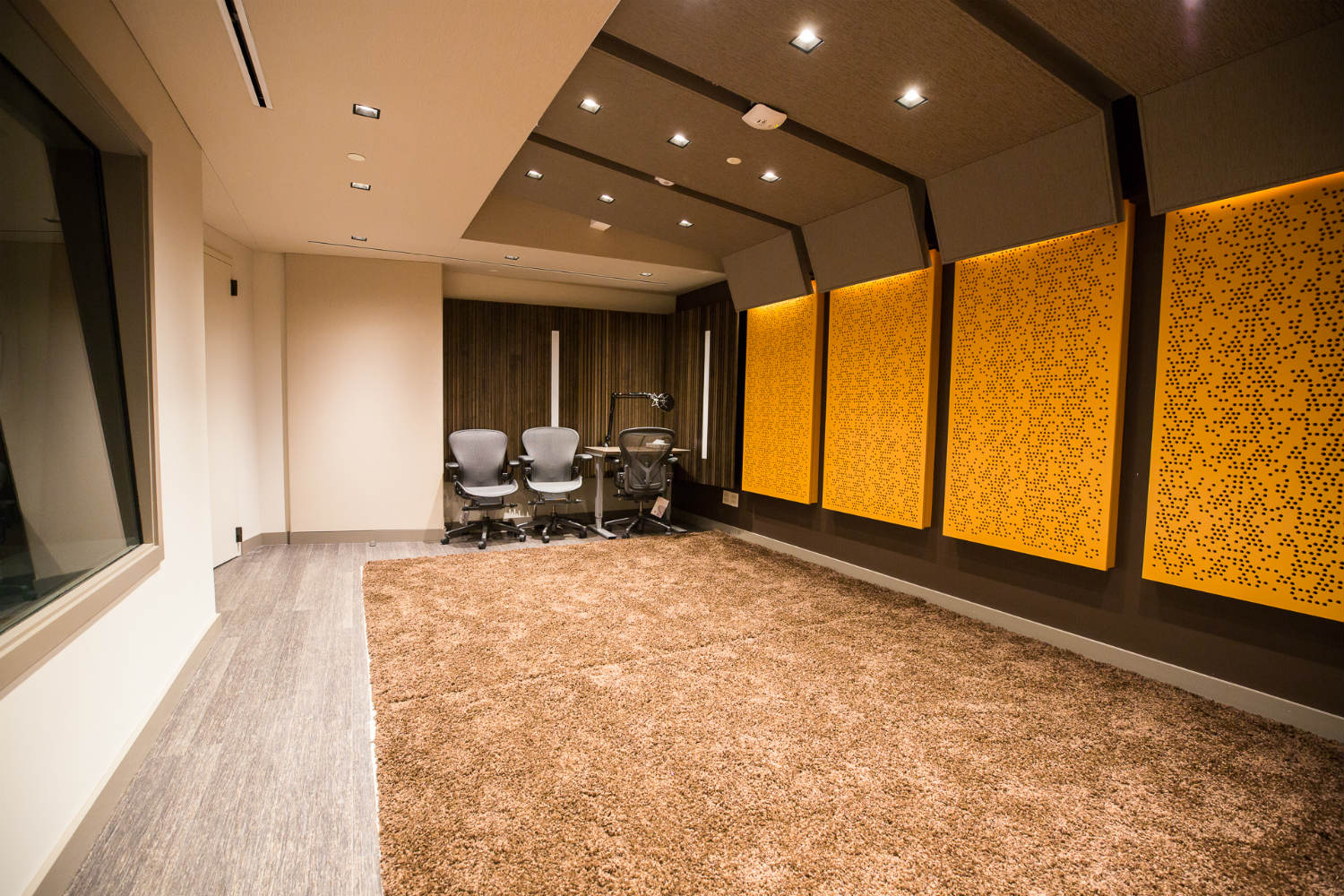 Audible is the world's largest producer/distributor of downloadable audiobooks and other spoken-word entertainment. WSDG was commissioned to design their new state-of-the-art recording studio complex. Live Room A Side