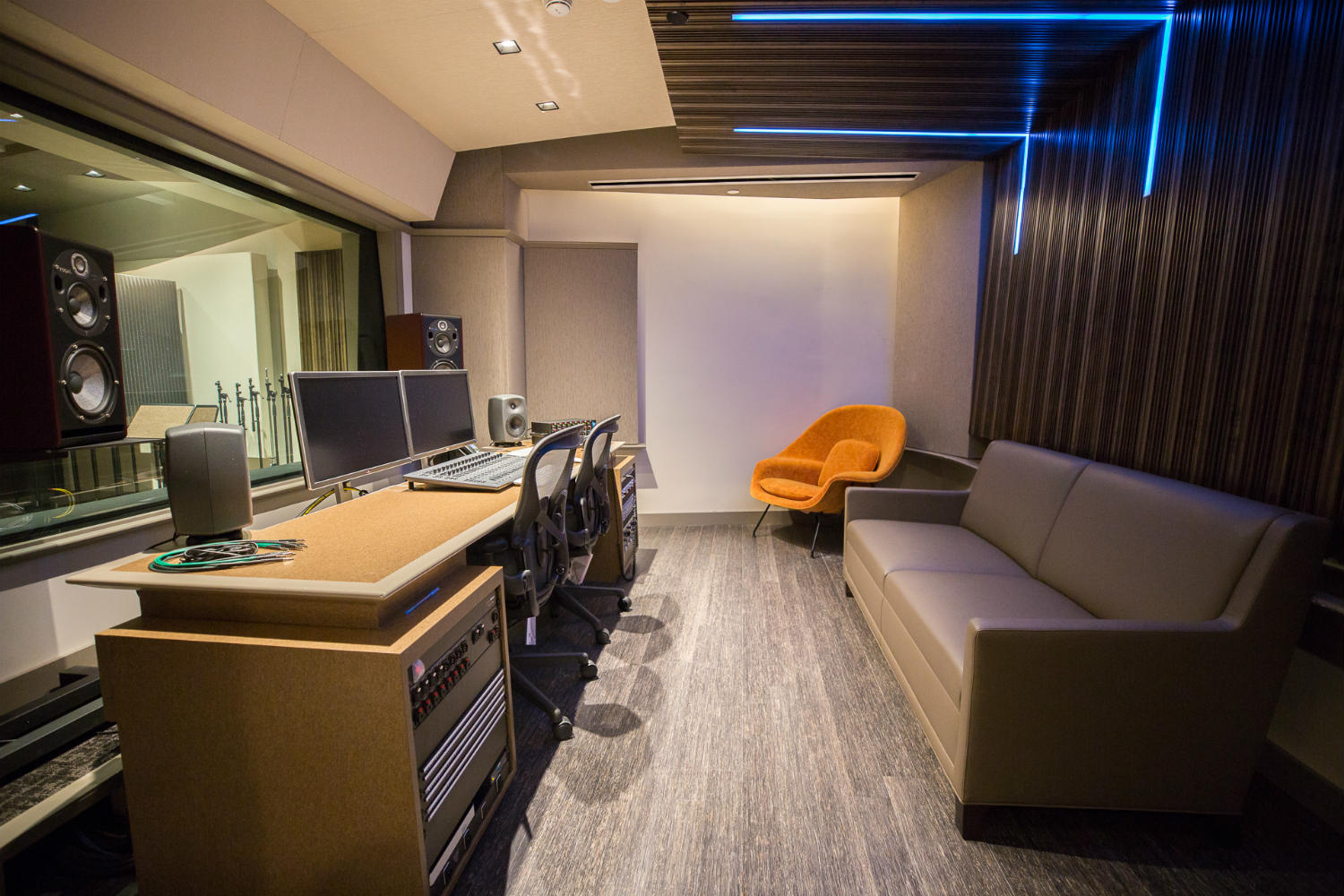 Audible is the world's largest producer/distributor of downloadable audiobooks and other spoken-word entertainment. WSDG was commissioned to design their new state-of-the-art recording studio complex. Control Room A left view