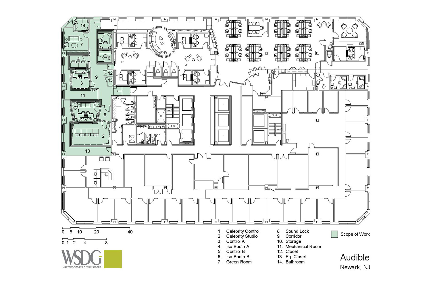 Audible is the world's largest producer/distributor of downloadable audiobooks and other spoken-word entertainment. WSDG was commissioned to design their new state-of-the-art recording studio complex. Presentation Drawing 2