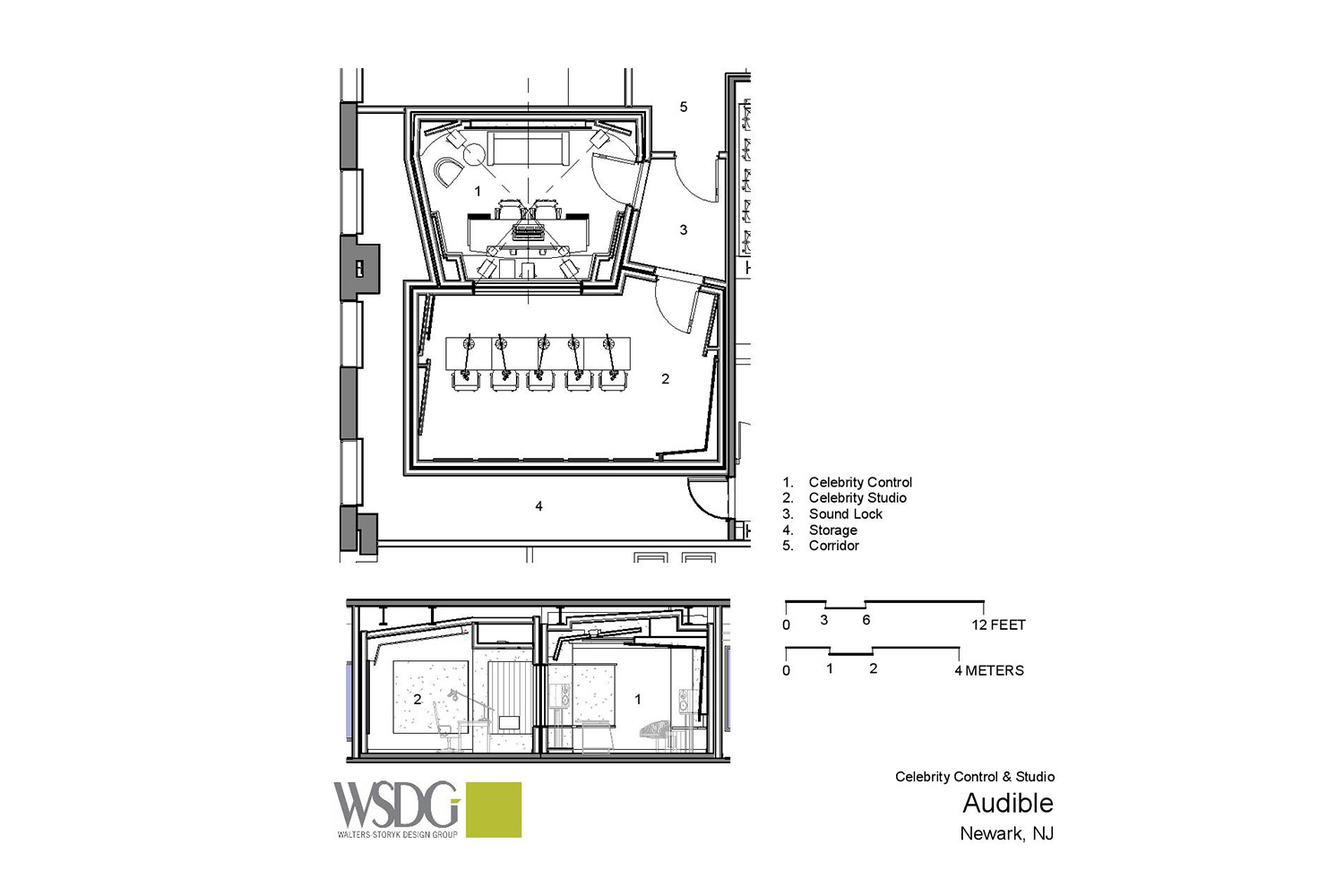 Audible is the world's largest producer/distributor of downloadable audiobooks and other spoken-word entertainment. WSDG was commissioned to design their new state-of-the-art recording studio complex. Presentation Drawing 3
