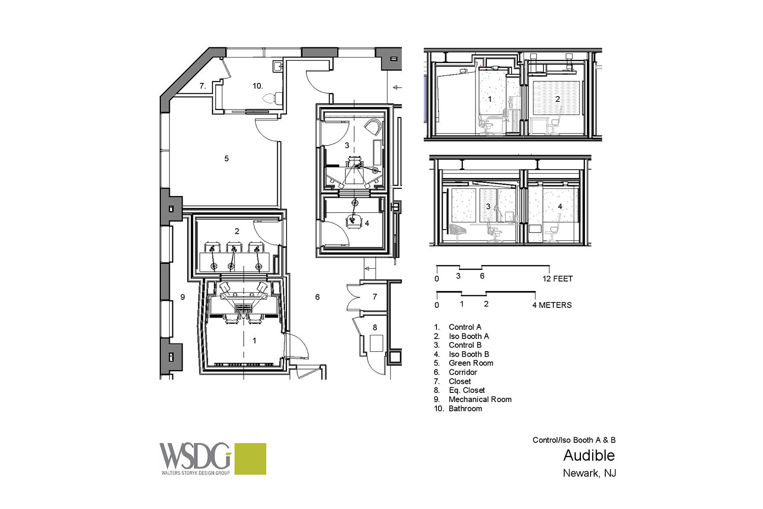 Audible is the world's largest producer/distributor of downloadable audiobooks and other spoken-word entertainment. WSDG was commissioned to design their new state-of-the-art recording studio complex. Presentation Drawing 4