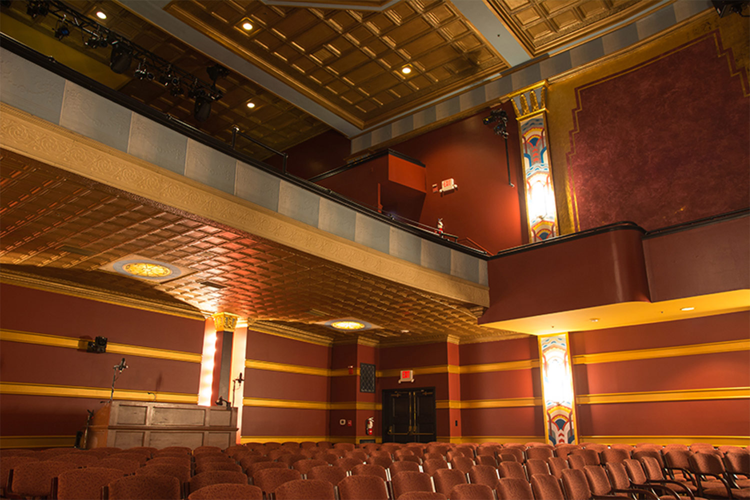 The Avalon Foundation, which runs the Avalon Theatre, secured the services of WSDG during a larger overall renovation initiative to update the theater's acoustics, production lighting, and audiovisual capabilities. Interior side and back.