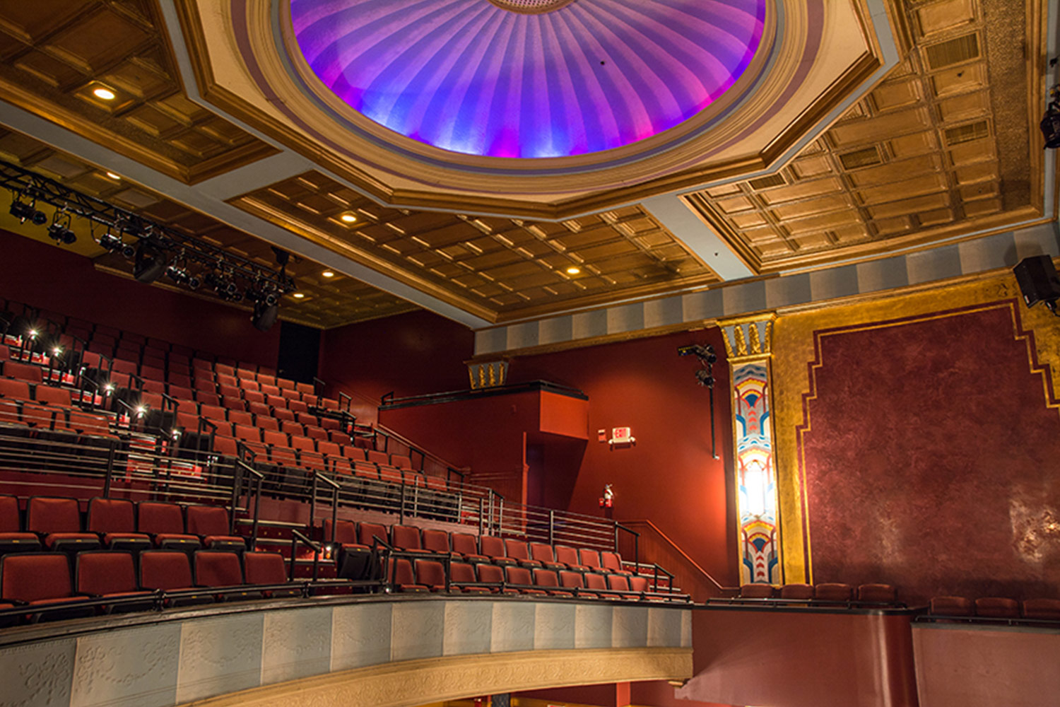 The Avalon Foundation, which runs the Avalon Theatre, secured the services of WSDG during a larger overall renovation initiative to update the theater's acoustics, production lighting, and audiovisual capabilities. Balcony and LED ceiling.