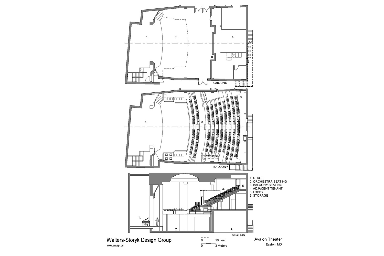 The Avalon Foundation, which runs the Avalon Theatre, secured the services of WSDG during a larger overall renovation initiative to update the theater's acoustics, production lighting, and audiovisual capabilities. Presentation drawing 2.