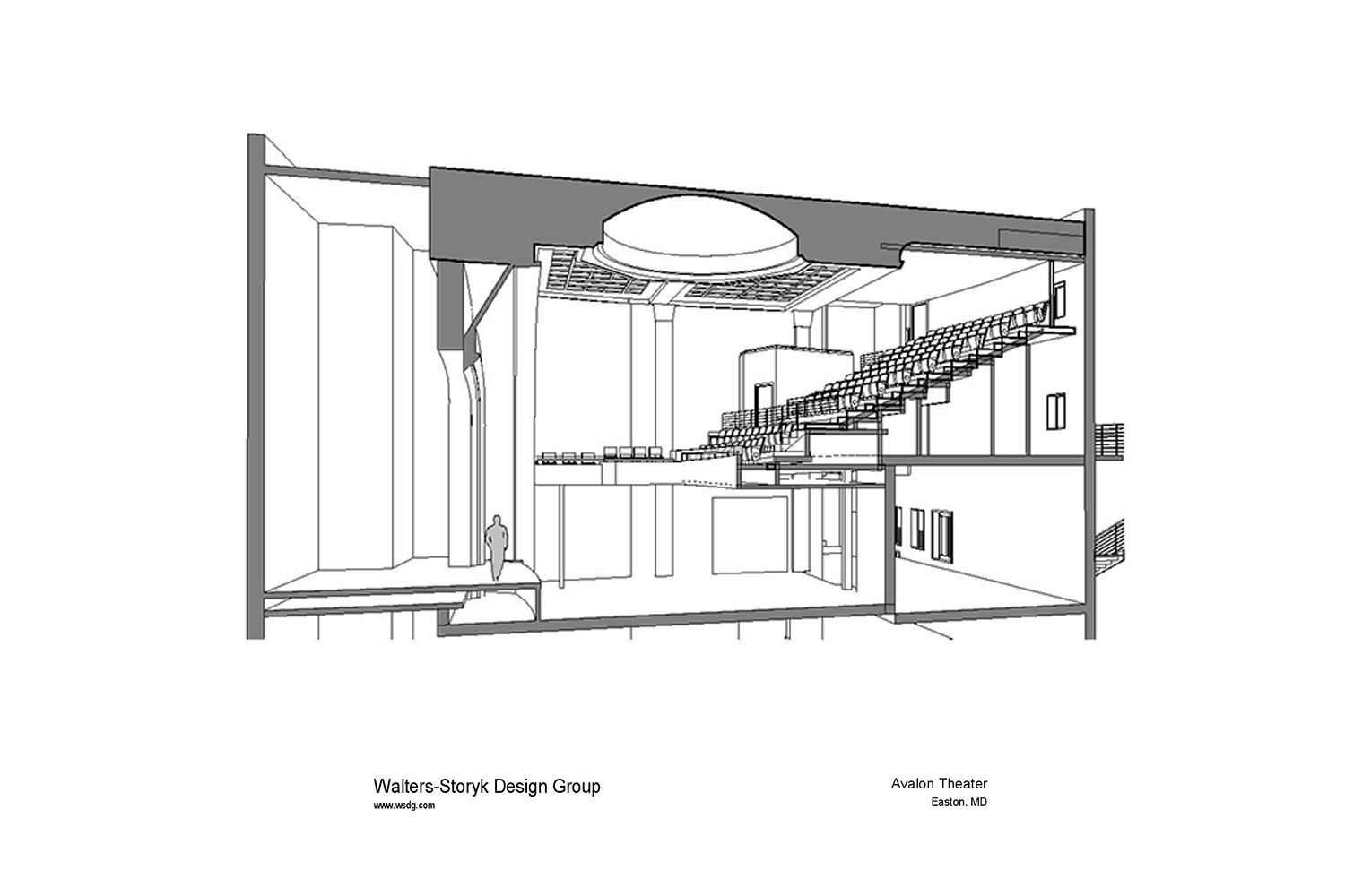 The Avalon Foundation, which runs the Avalon Theatre, secured the services of WSDG during a larger overall renovation initiative to update the theater's acoustics, production lighting, and audiovisual capabilities. Axonometric View.