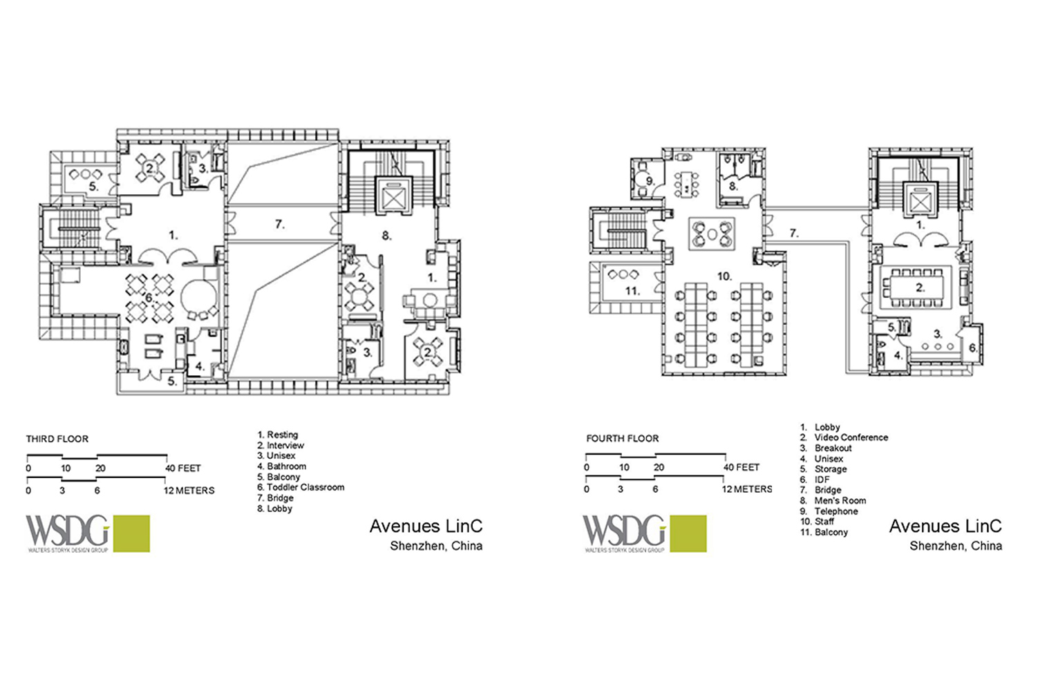 Avenues: The World School in Shenzhen, China consists of two locations in Shenzhen's Nanshan District. WSDG provided acoustic and A/V systems consulting as well as construction supervision for the two locations. Presentation drawing 2.