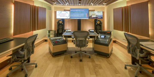 Boston Symphony Orchestra Control Room, main view of the mixing and live-mixing facility in Boston, MA, designed by WSDG