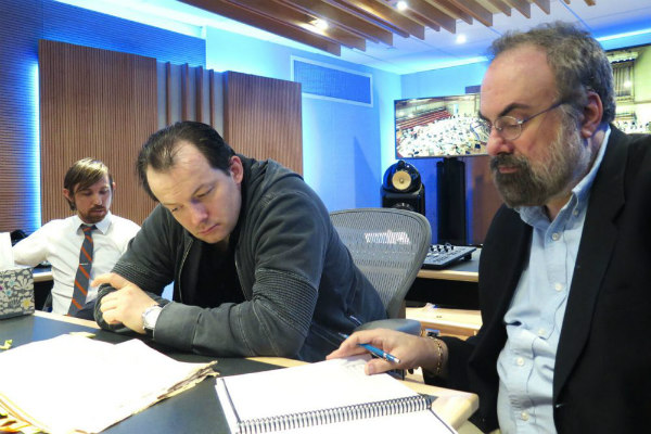 BSO engineer Nick Squire (left), music director Andris Nelsons (middle) and music editor Robert Wolff (right).