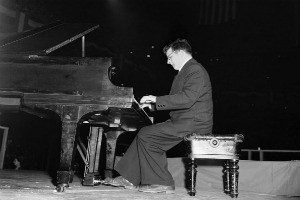 Dmitri Shostakovich plays the second movement of his fifth symphony in Madison Square garden in New York on March 27, 1949 as part of the Soviet delegation to the Cultural and Scientific conference for World Peace.