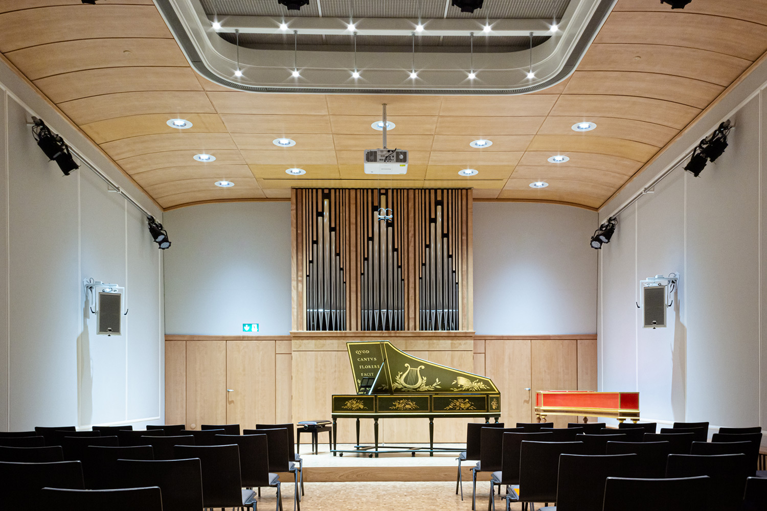 WSDG were retained to improve the hall's sound isolation and A/V components of the Basel Music Academy, and conserving their acoustic signature. Main Hall.