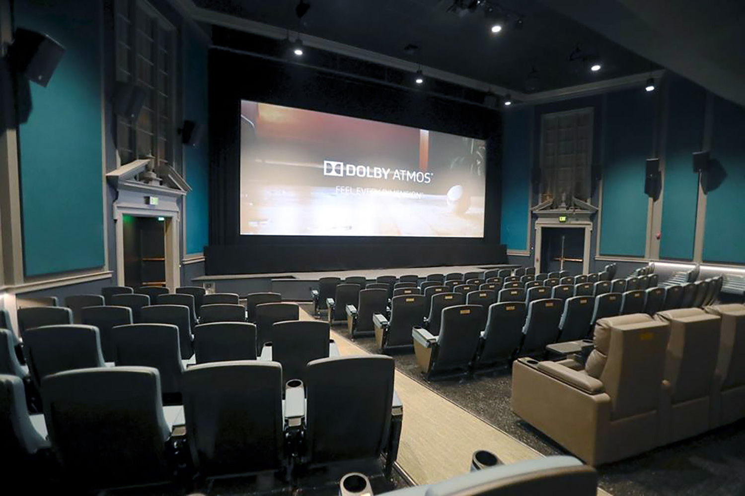 The Bedford Playhouse/Clive Davis Arts Center is a classic movie theater in the final stages of a total renovation. WSDG is providing complete acoustic and A/V design and consultation for the complex. Main Dolby Atmos Theater Screen View