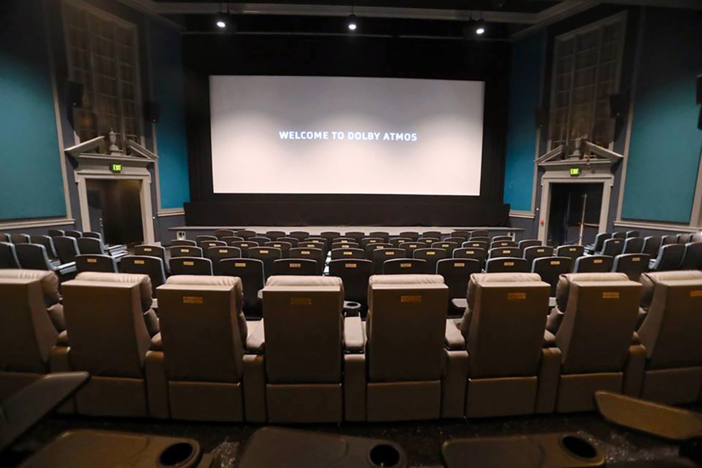 The Bedford Playhouse/Clive Davis Arts Center is a classic movie theater in the final stages of a total renovation. WSDG is providing complete acoustic and A/V design and consultation for the complex. Main Dolby Atmos Theater Screen View 2