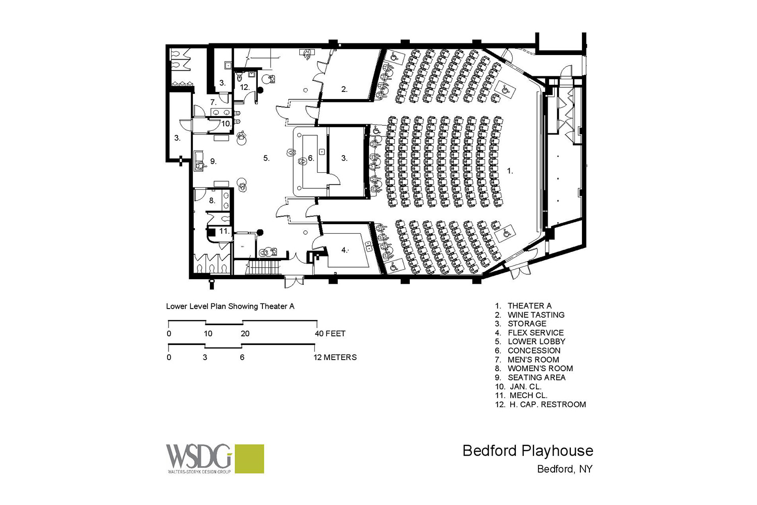 The Bedford Playhouse/Clive Davis Arts Center is a classic movie theater in the final stages of a total renovation. WSDG is providing complete acoustic and A/V design and consultation for the complex. Presentation Drawing 1