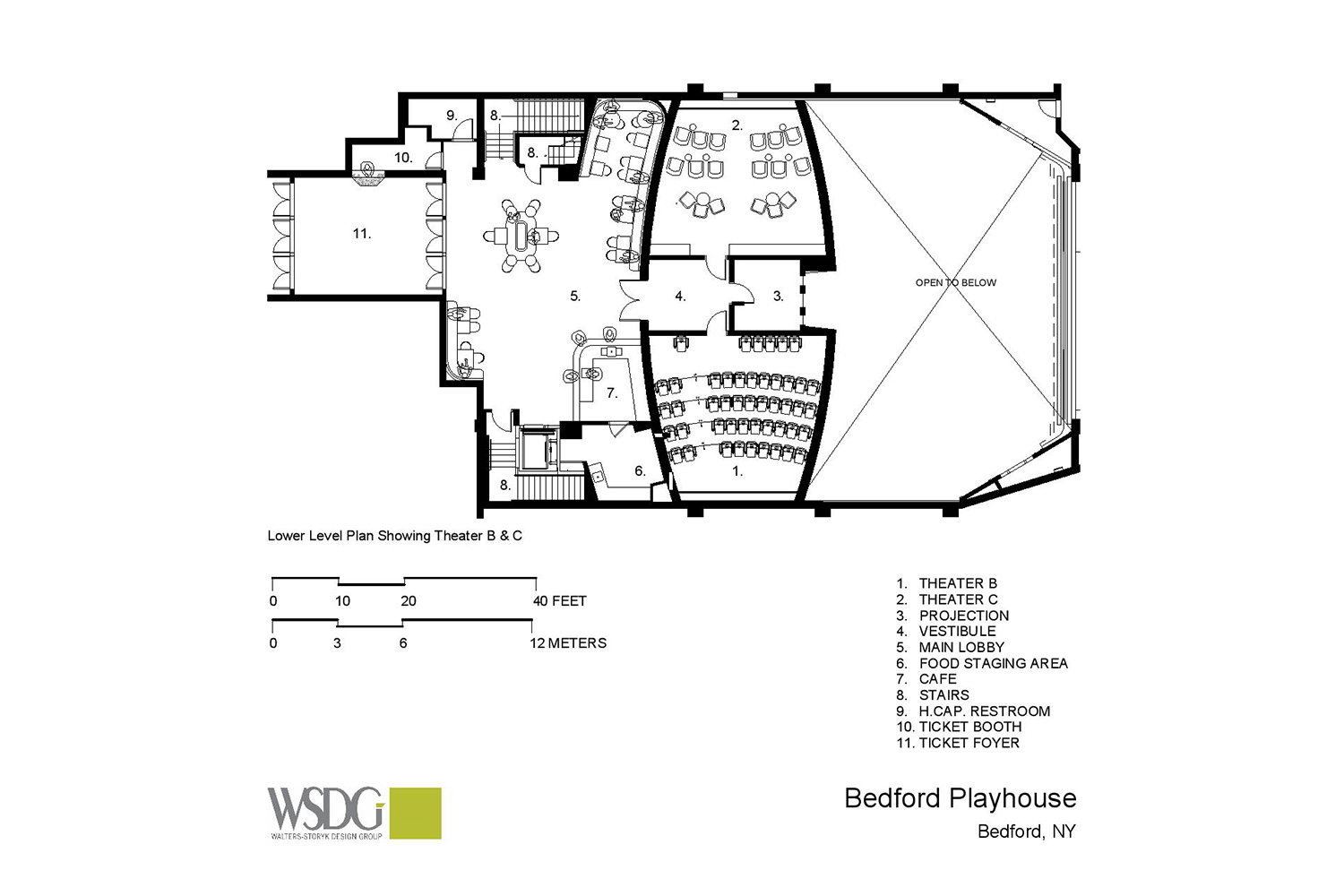 The Bedford Playhouse/Clive Davis Arts Center is a classic movie theater in the final stages of a total renovation. WSDG is providing complete acoustic and A/V design and consultation for the complex. Presentation Drawing 2