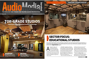 Audio Media International Magazine October 2018 Cover. WSDG designed Berklee College of Music 160 Mass Ave & NYU Steinhardt Studios as Top-Grade Studios. Featured photo.