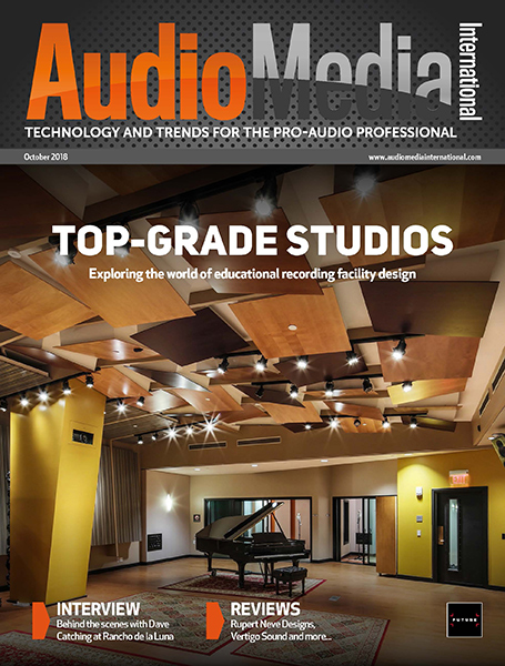 Audio Media International Magazine October 2018 Cover. WSDG designed Berklee College of Music 160 Mass Ave & NYU Steinhardt Studios as Top-Grade Studios. COVER.
