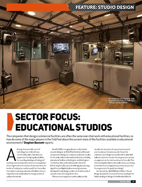Audio Media International Magazine October 2018 Cover. WSDG designed Berklee College of Music 160 Mass Ave & NYU Steinhardt Studios as Top-Grade Studios. NYU Featured