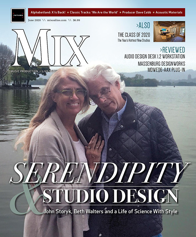 Beth Walters & John Story, WSDG Founding Partners, featured at Mix Magazine June 2020 Cover. Studio Design, Serendipity, Acoustics and a Legendary career in the music industry.