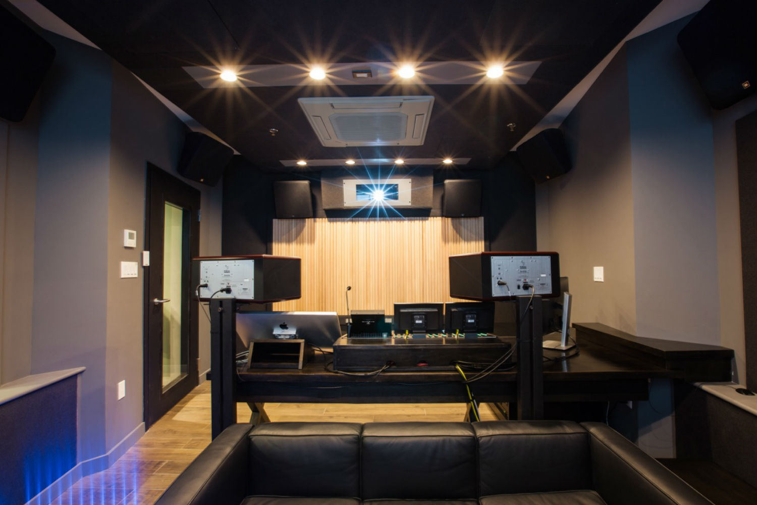Blue Table Post Video/Audio Post Production Mixing Suite with Dolby Atmos Audio Technology Rear View designed by WSDG
