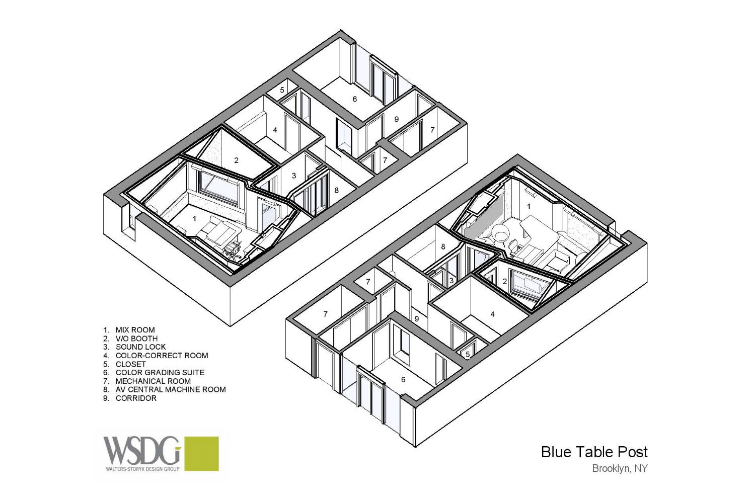Blue Table Post A/V Post Production House Presentation Drawing 1 designed by WSDG (Walters-Storyk Design Group)