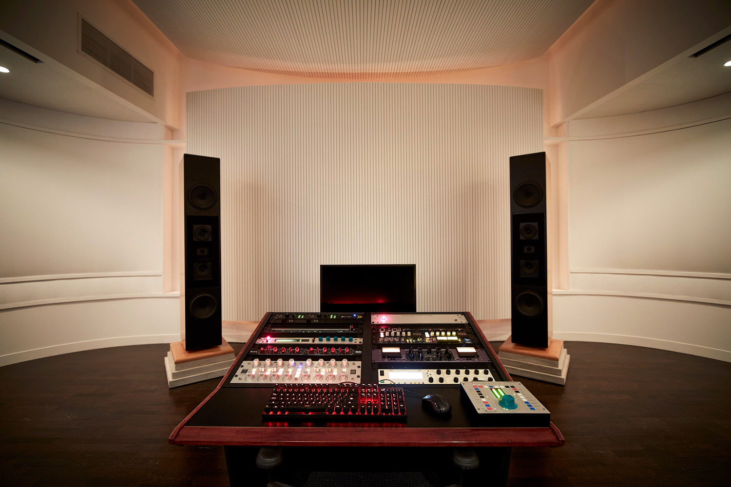 Top mastering engineer and Boiler Room founder Collin Jordan inquired WSDG to fully design his new mastering room in Chicago. WSDG's balance of technical acoustics and artistic design was spot on and made it easy to make the decision. Mastering Room Front View.