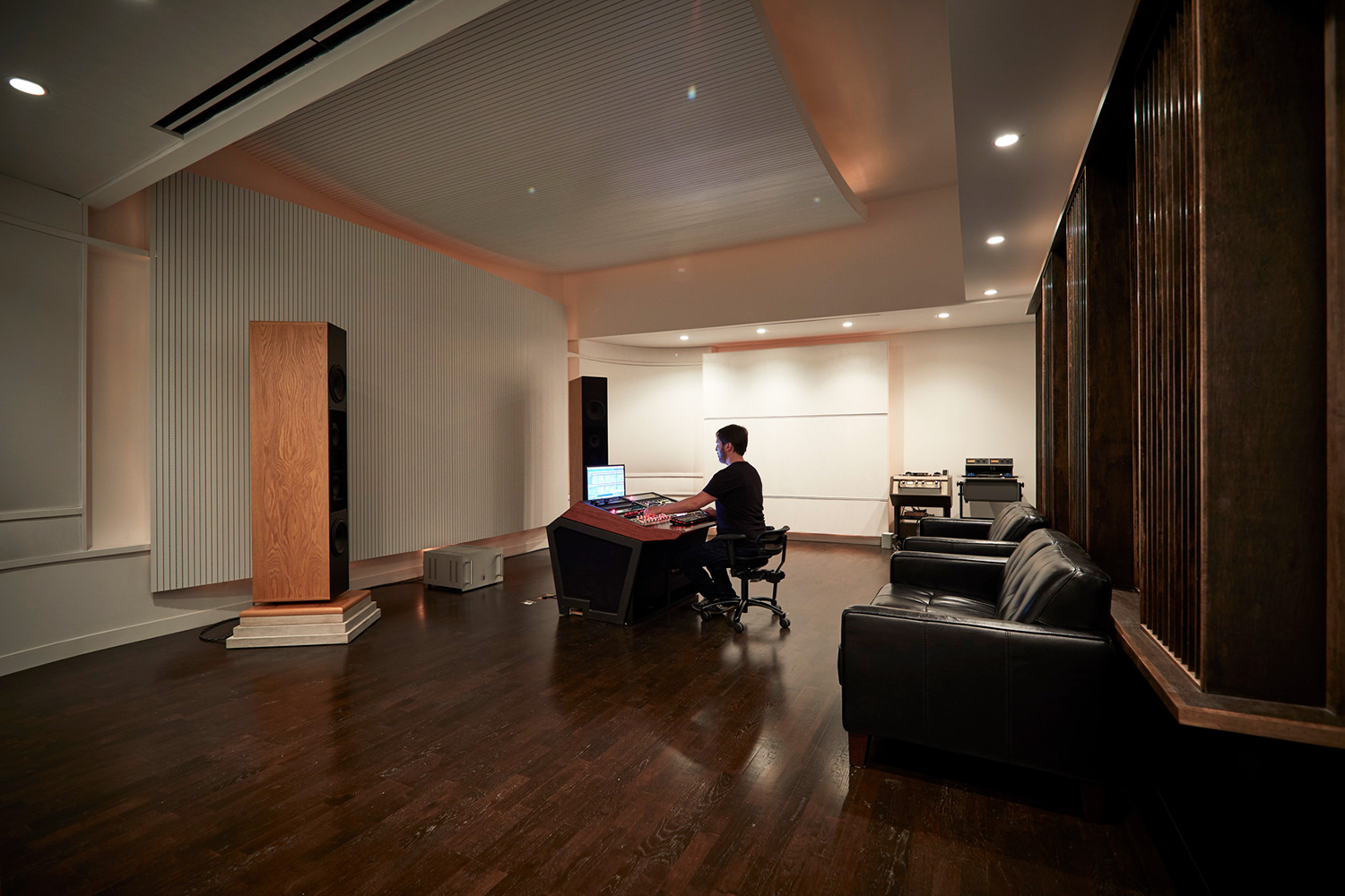 Top mastering engineer and Boiler Room founder Collin Jordan inquired WSDG to fully design his new mastering room in Chicago. WSDG's balance of technical acoustics and artistic design was spot on and made it easy to make the decision. Mastering room side view.