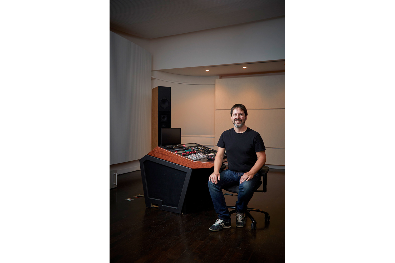 Top mastering engineer and Boiler Room founder Collin Jordan inquired WSDG to fully design his new mastering room in Chicago. WSDG's balance of technical acoustics and artistic design was spot on and made it easy to make the decision. Collin Jordan at his Mastering Studio.