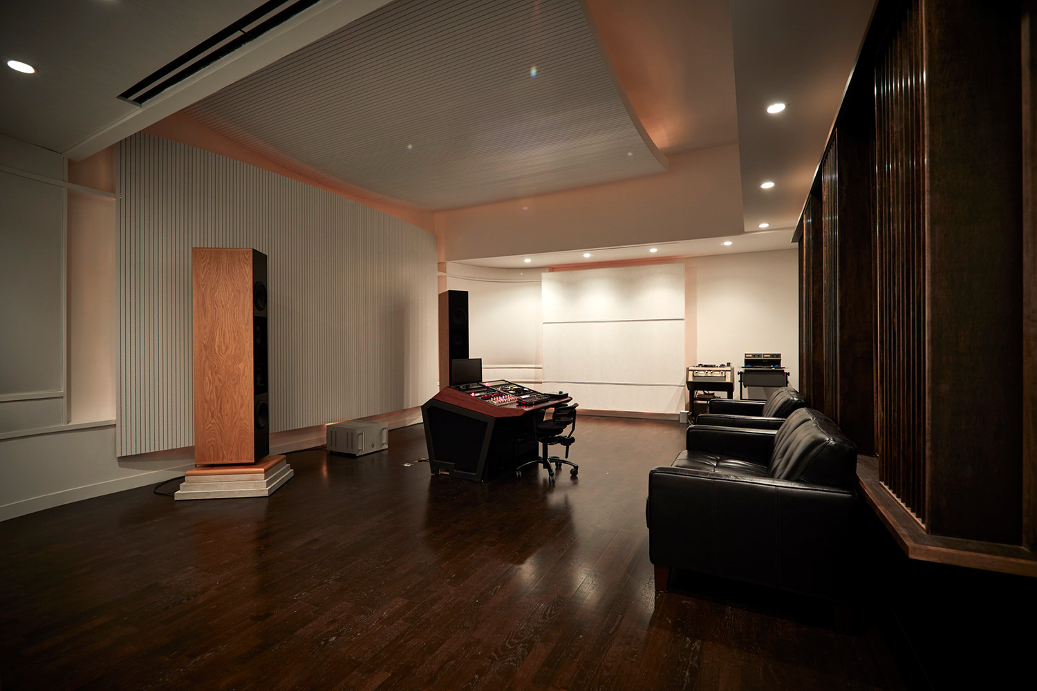 Top mastering engineer and Boiler Room founder Collin Jordan inquired WSDG to fully design his new mastering room in Chicago. WSDG's balance of technical acoustics and artistic design was spot on and made it easy to make the decision. Studio side view.