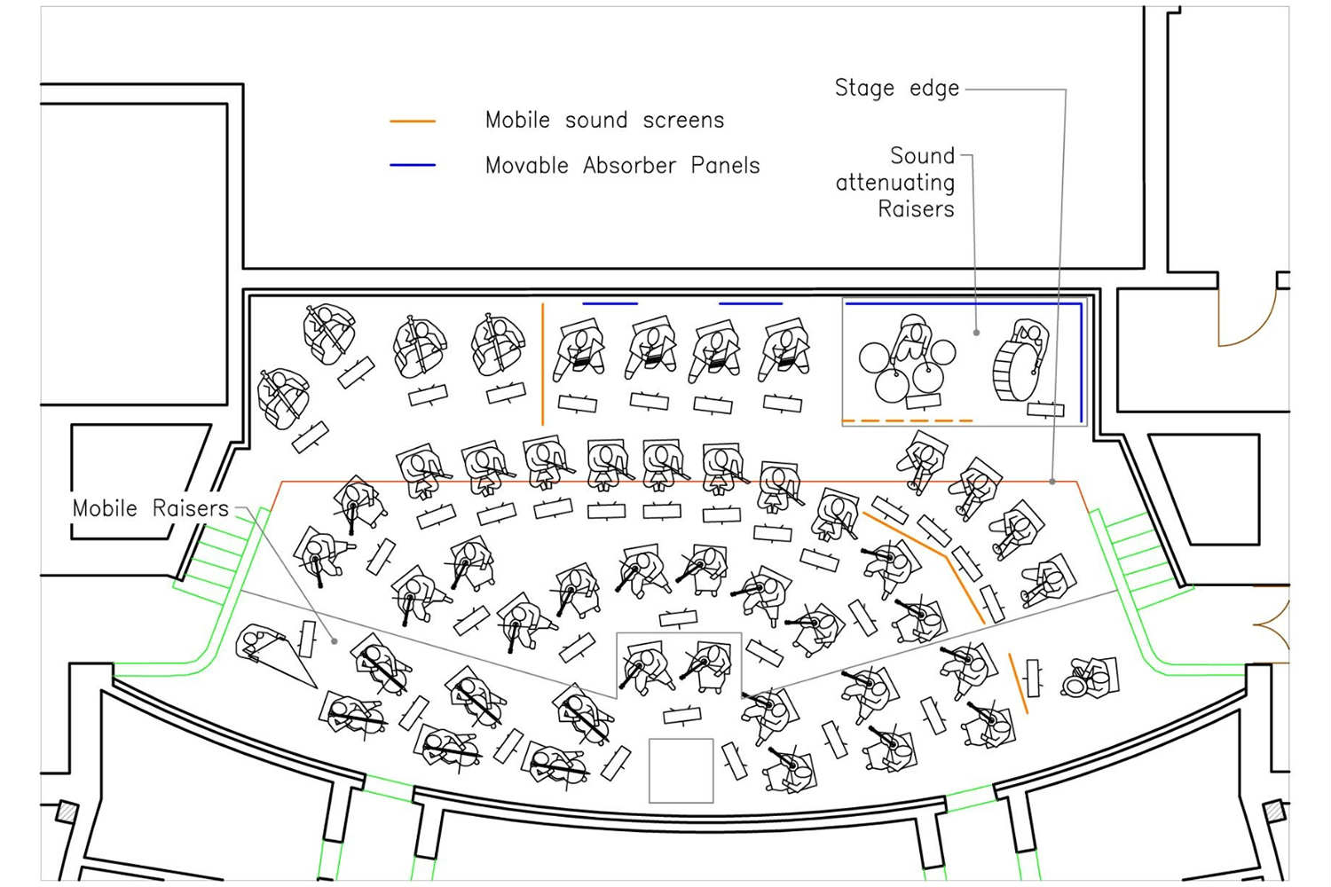 Bucharest Nation Opera orchestra plan, room acoustics and auralization by ADA-AMC, a WSDG company
