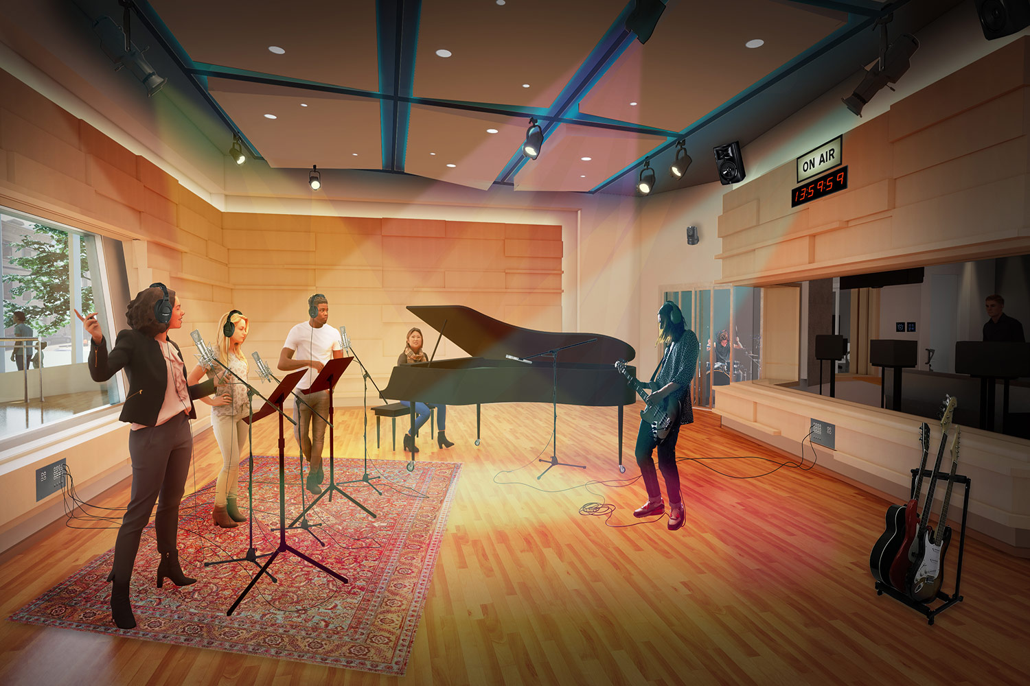 WSDG services were retained for the design of one recording studio, two productions studios and overall acoustics of the new headquarters for the Cincinnati Public Radio. Recording Studio 1.