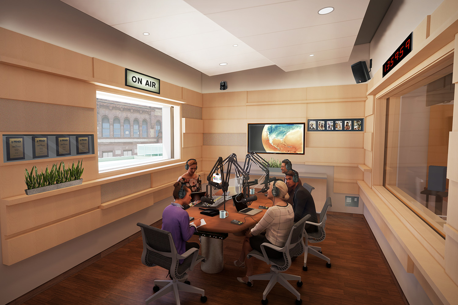 WSDG services were retained for the design of one recording studio, two productions studios and overall acoustics of the new headquarters for the Cincinnati Public Radio. On-Air Studio 1.