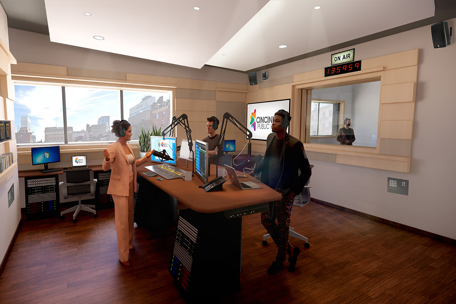 WSDG services were retained for the design of one recording studio, two productions studios and overall acoustics of the new headquarters for the Cincinnati Public Radio. On-Air Studio 2.