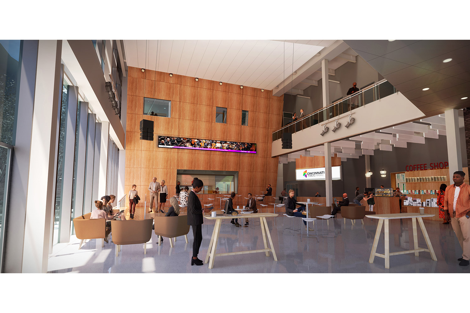 WSDG services were retained for the design of one recording studio, two productions studios and overall acoustics of the new headquarters for the Cincinnati Public Radio. Building lobby.