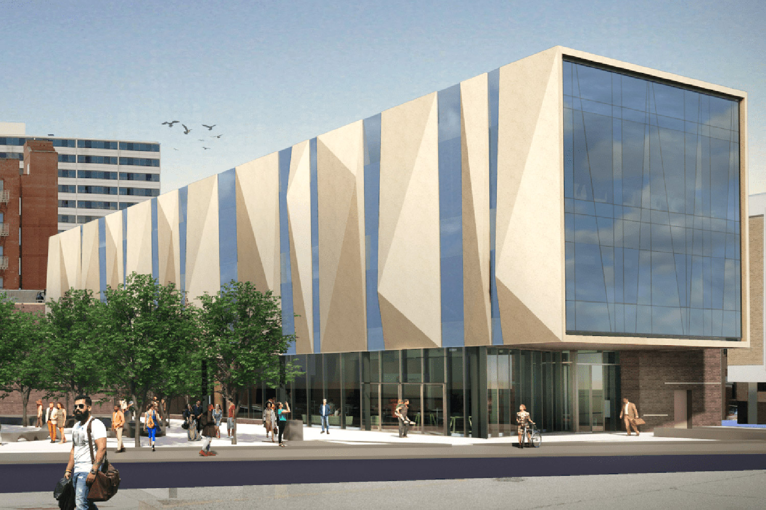 WSDG services were retained for the design of one recording studio, two productions studios and overall acoustics of the new headquarters for the Cincinnati Public Radio. Exterior Render.